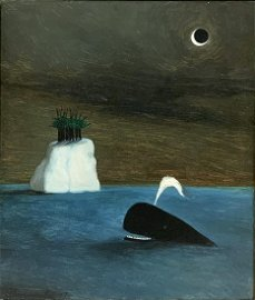 Painting of Whale sgd. (Gertrude) Abercrombie.