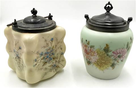 Lot of Two Wavecrest Biscuit Jars, Hand-Painted.