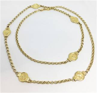 14K Necklace with Coin-Like Medallions.