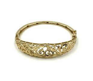 10K Gold Reticulated Bangle Bracelet, As Is.