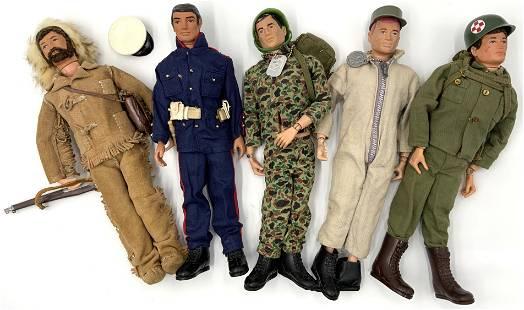 Lot of 5 Vintage Hasbro GI Joes or G.I. Joe Dolls.