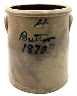4 Gallon Primitive Butter Crock Dated 1870.