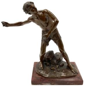 Signed H. Miller Fine Bronze Sculpture of Boy.