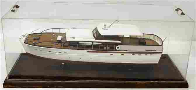 Large Wood Vintage Yacht Boat Model.