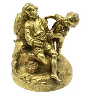 Fine 19th Century Gilt Bronze of Two Boys.