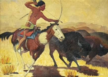 Painting of an American Indian Hunting a Buffalo.