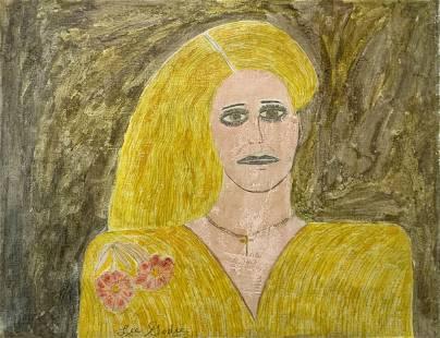 Sgd. Lee Godie Pencil & Oil Portrait on Canvas.