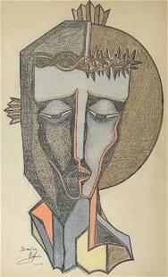Modern Jesus Portrait Pastel by Serafin Abadjian.
