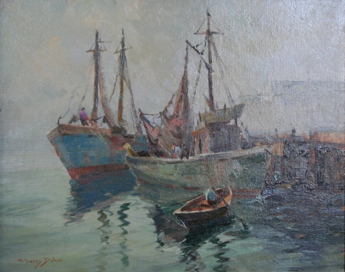 C. Curry Bohm: Harbor Scene with Boats, Buildings and