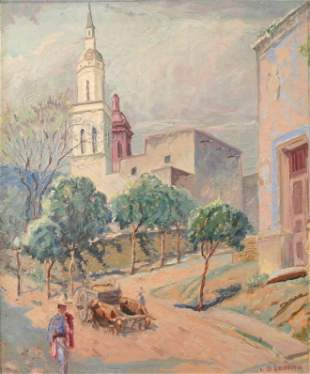 L.O. Griffith: Mexico Scene with Figures and Oxen