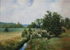 Frederick Ebbeson Grue:  Indiana Spring Landscape with