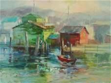 Paula Raney Newman: Misty Harbor Scene with Boats &