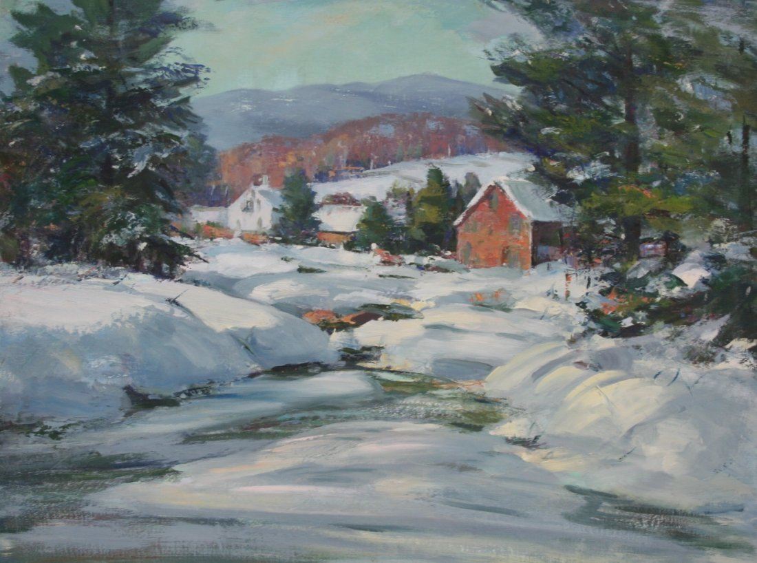 Paula Raney Newman:  Snow Scene with Buildings