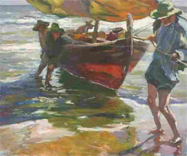 Paula Raney Newman: Beach Scene with Figures & Boat