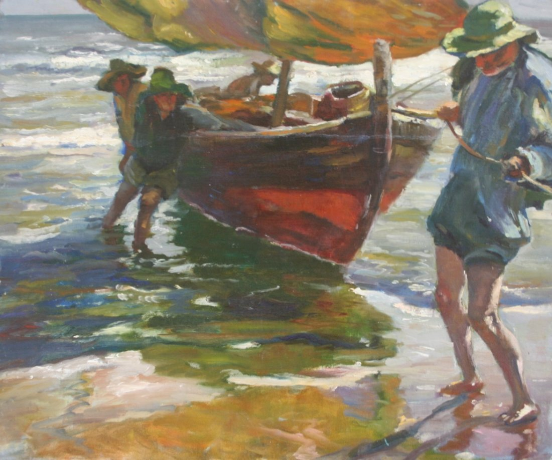 Paula Raney Newman:  Beach Scene with Figures & Boat