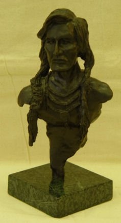 "3: Walt McCurdy, 9.5"" Bronze, signed, ""Indian Brave"""