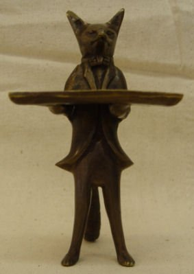 "22: Unsigned, 6.5"" Bronze, Figural Fox Card Holder"