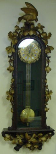 25: Highly Carved Victorian Wall Clock w/Bird, Acorn &