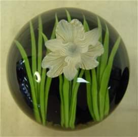 72: Signed Steven Lundberg Floral Art Glass Paperweight