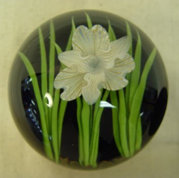 72: Signed Steven Lundberg Floral Art Glass Paperweight