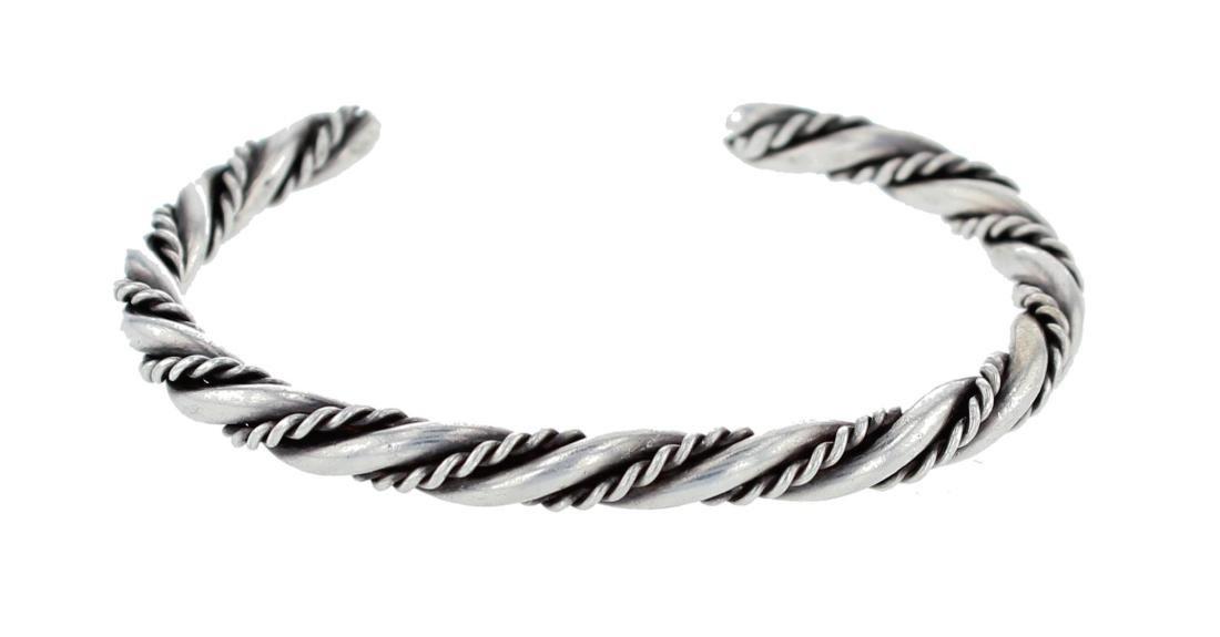 Sterling Silver Twist Wire Bracelet Navajo Native