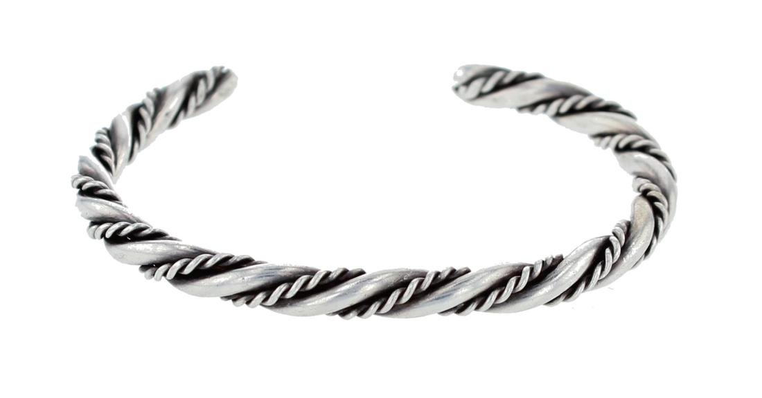Sterling Silver Twist Wire Bracelet Navajo Native