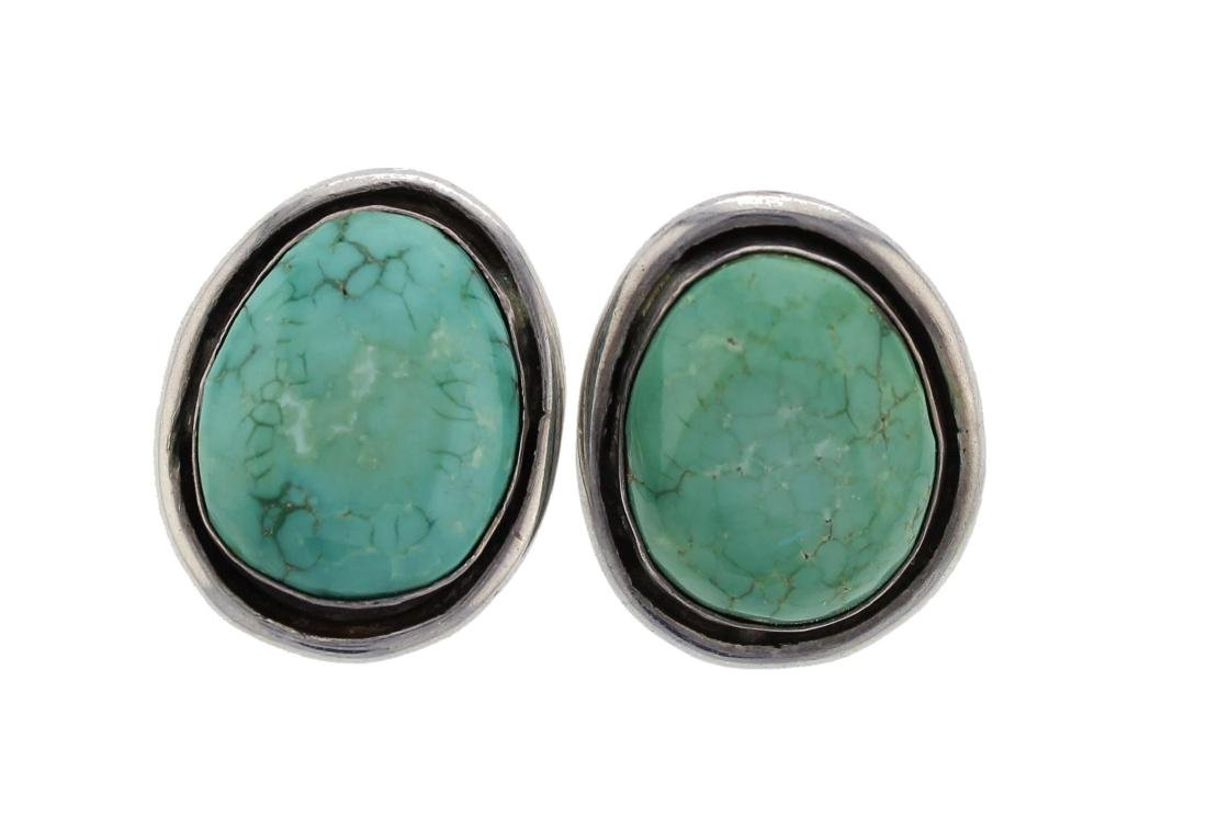 Sterling Silver Vintage  Turquoise Earrings Navajo