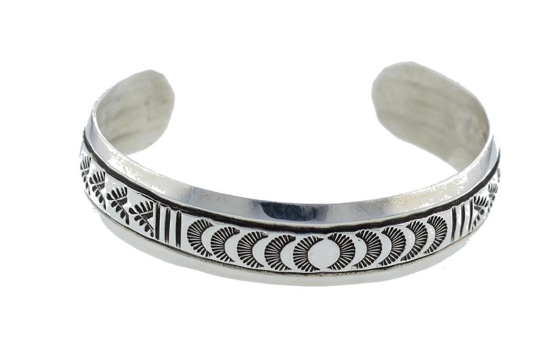 Sterling Silver Stamp Bracelet Navajo Native American