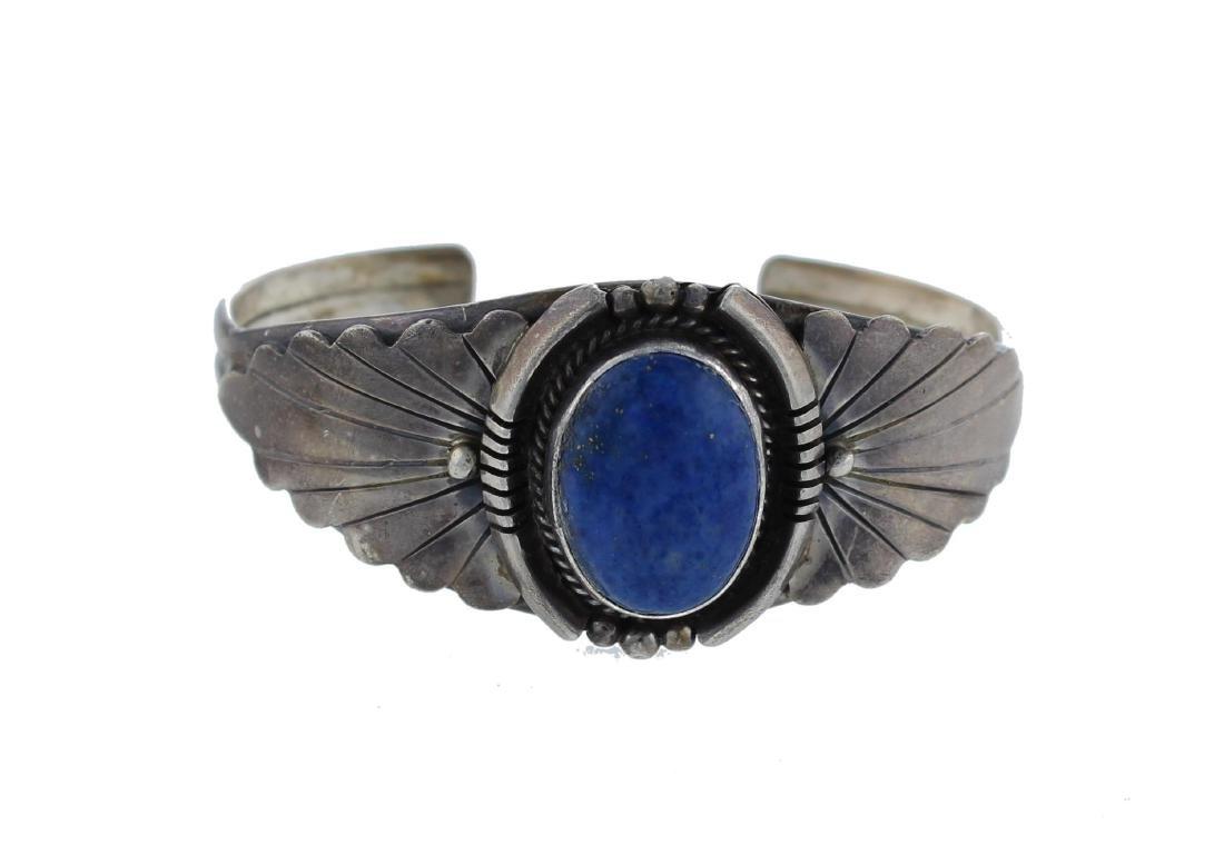 Sterling Silver  Lapis Bracelet Navajo Native American
