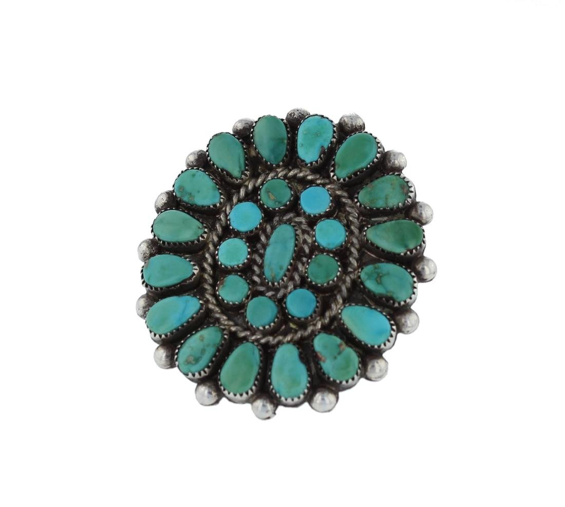 Sterling Silver  Turquoise Vintage Cluster Ring Navajo
