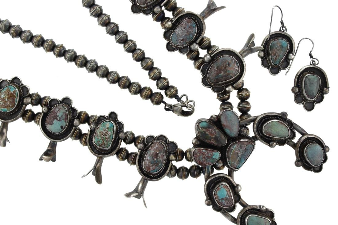 Sterling Silver  Bisbee Turquoise Squash Blossom