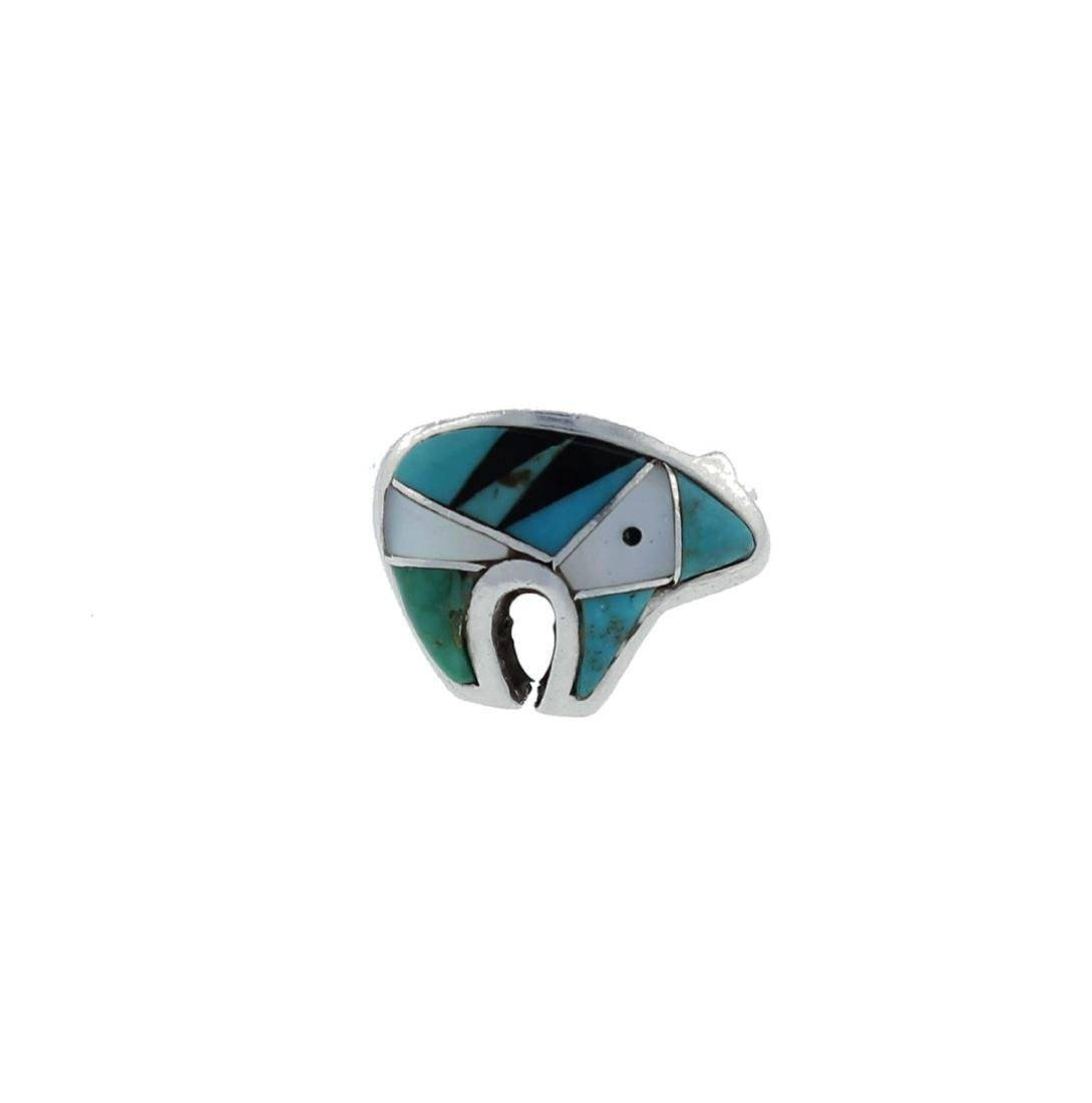 Sterling Silver  Turquoise & MoP Bear Ring Navajo