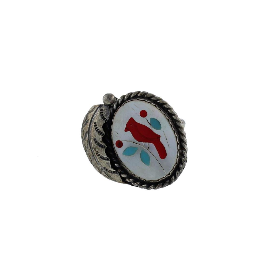 Sterling Silver  Multi- Stone Ring Zuni Native American