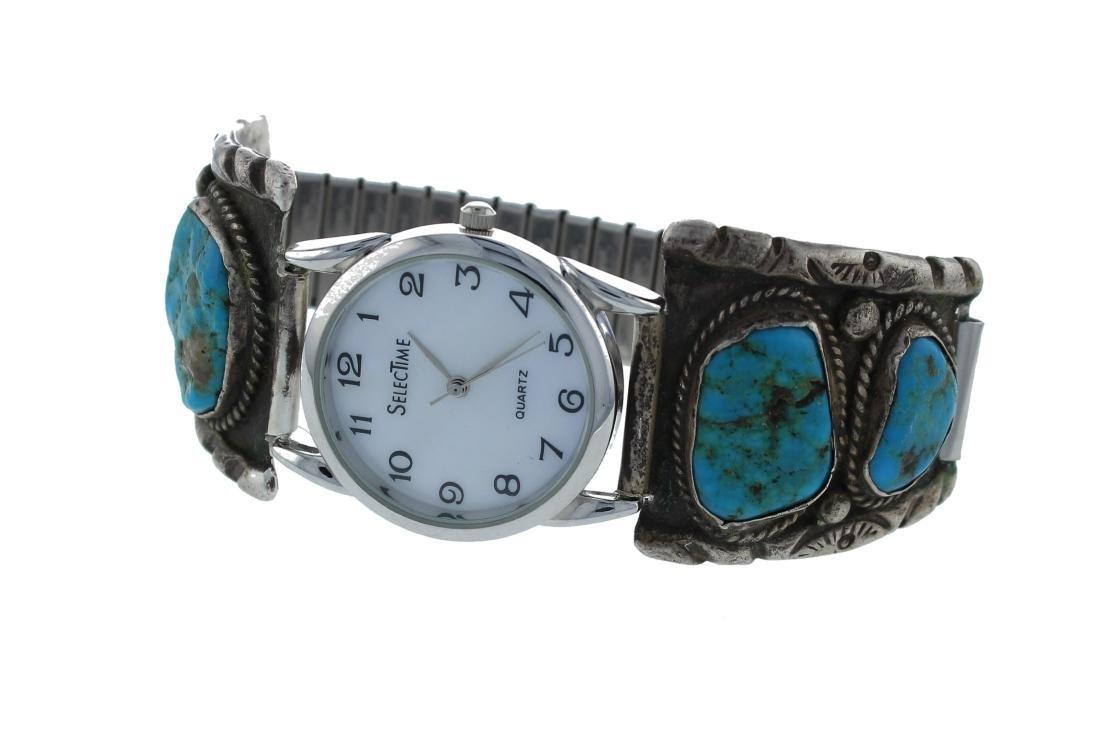 Sterling Silver Vintage  Turquoise Watch Bracelet
