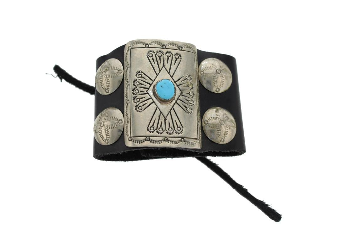 Sterling Silver  Turquoise Vintage Arm Bar Leather