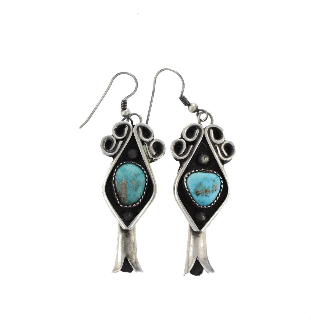 Sterling Silver  Turquoise Vintage Blossom Earrings