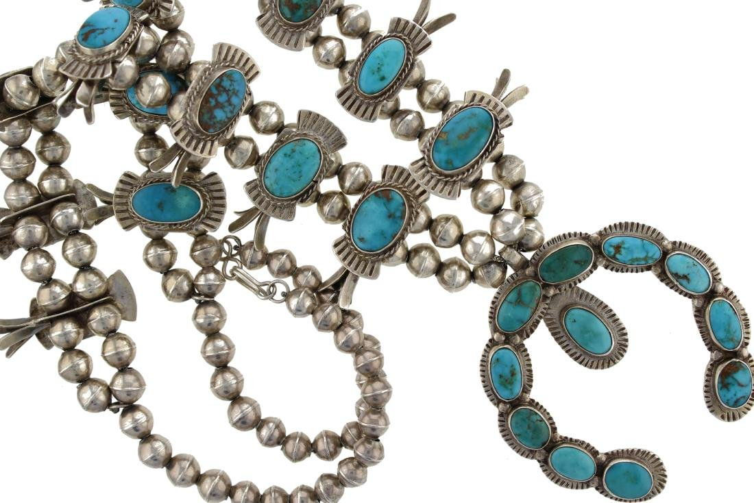 Sterling Silver  Turquoise Vintage Squash Blossom