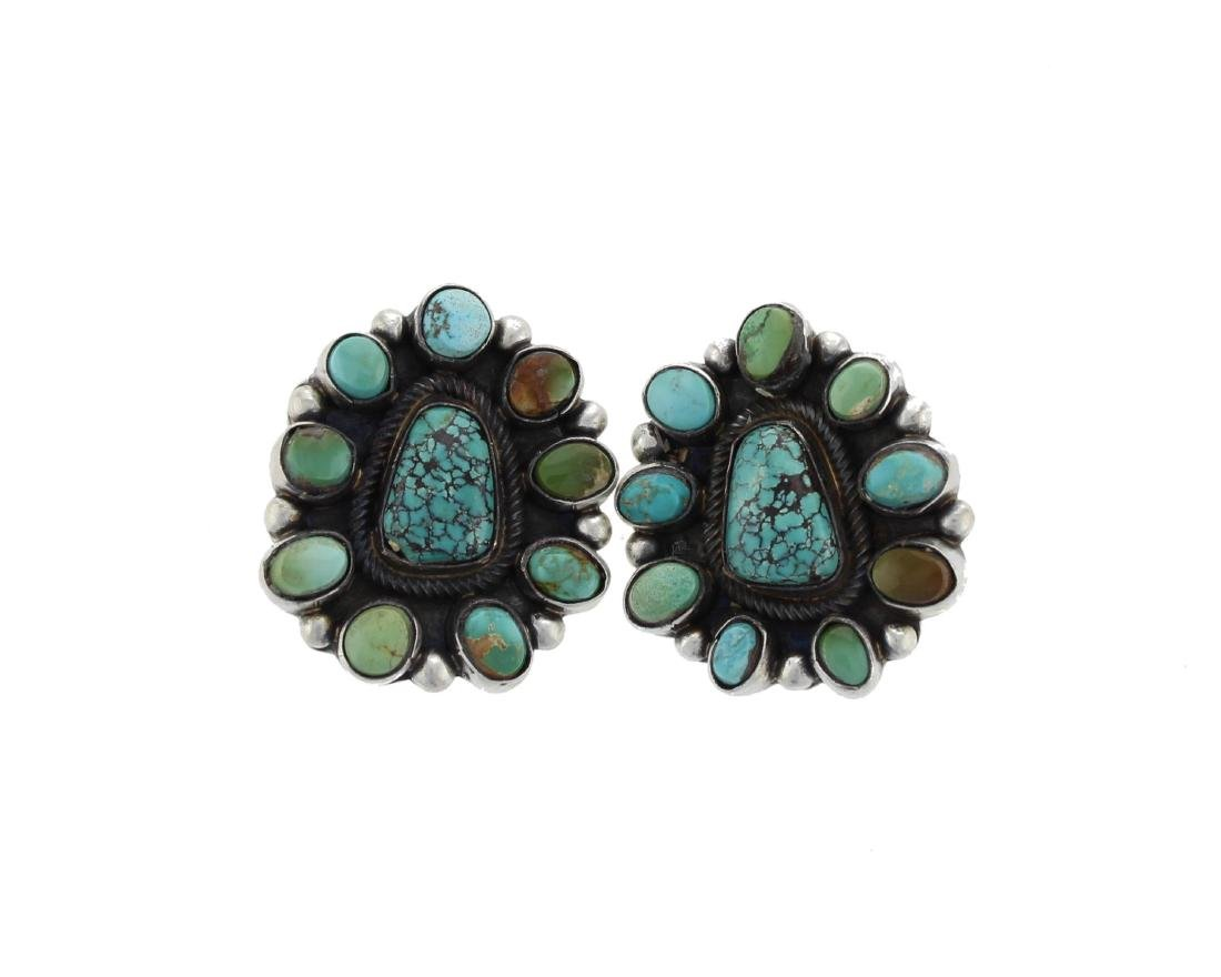 Sterling Silver  Turquoise Earrings Navajo Native