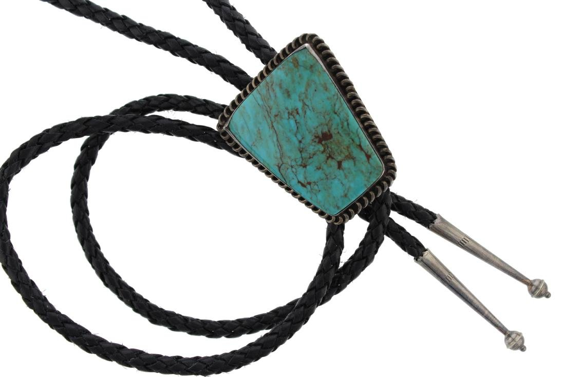 Sterling Silver  Turquoise Vintage Bolo Tie Navajo