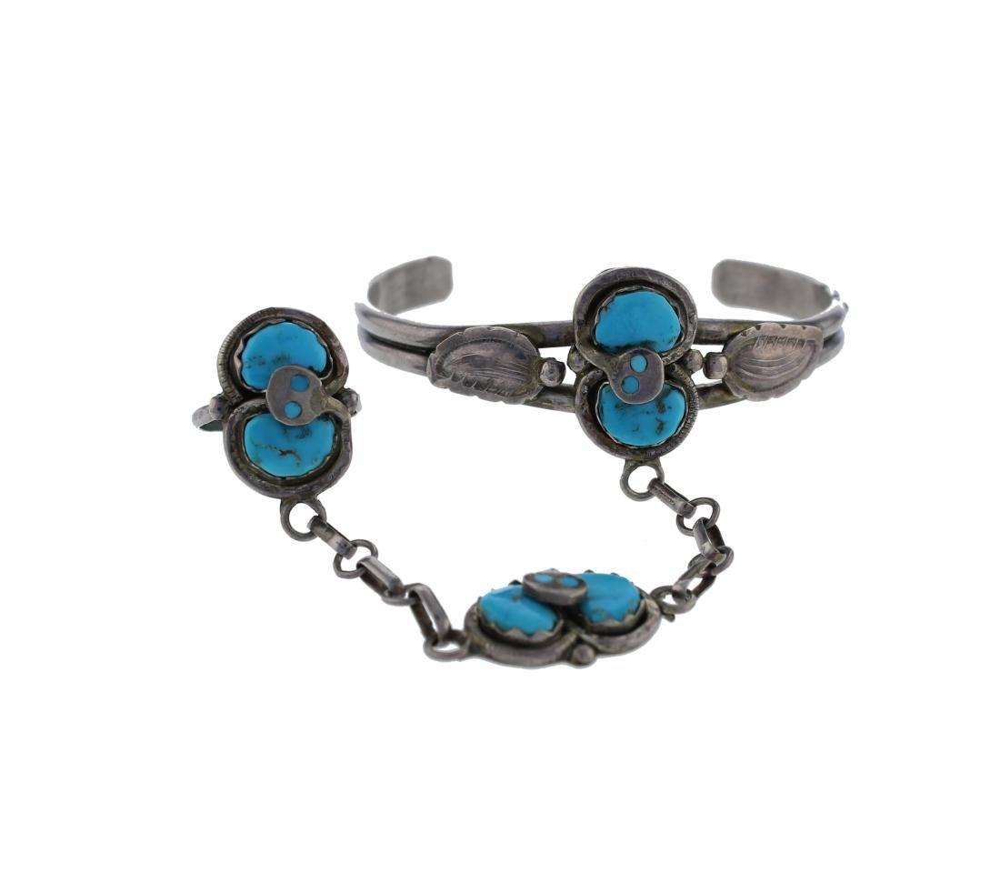 Sterling Silver  Turquoise Vintage Salve Bracelet Zuni