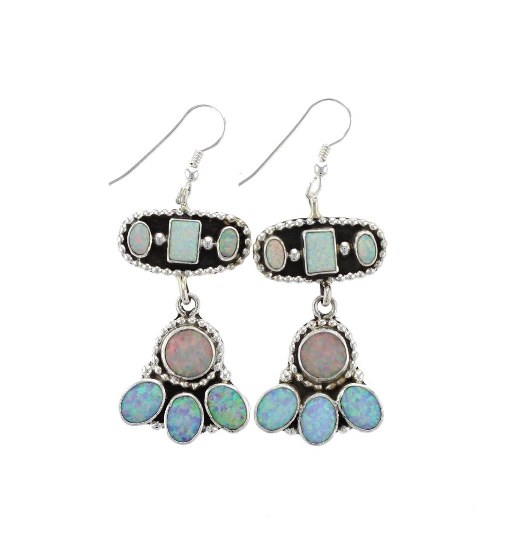 Sterling Silver Synthetic Opal Earrings Navajo Native