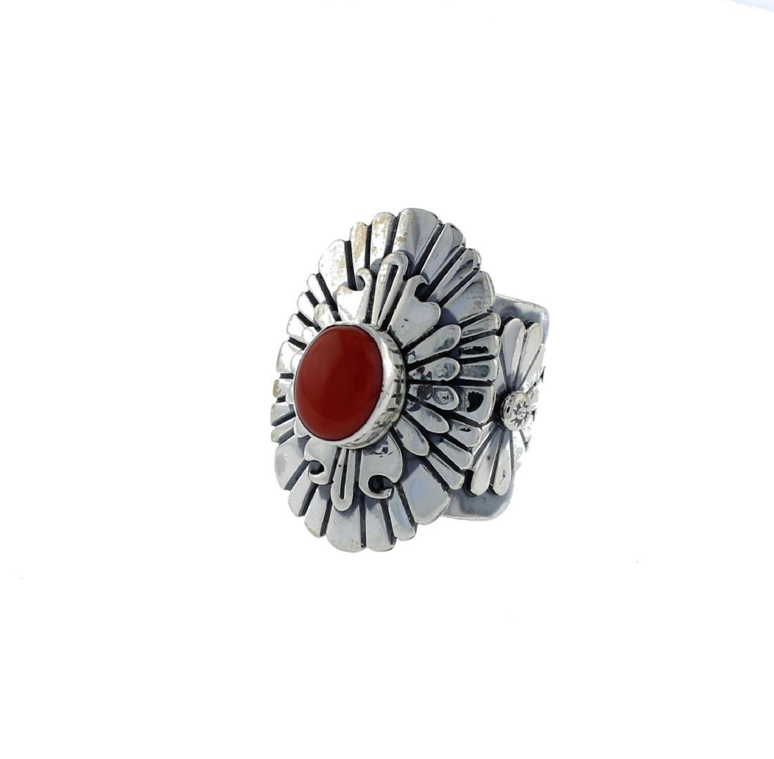Sterling Silver  Coral Masterpiece Ring Navajo Native