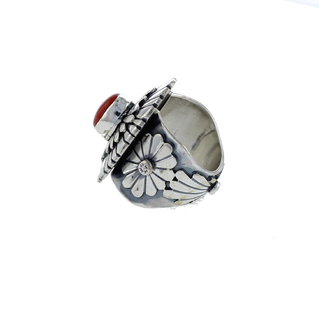 Sterling Silver  Coral Masterpiece Ring Navajo Native - 2