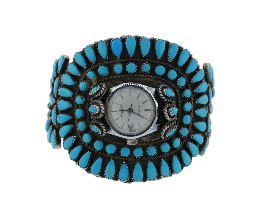 Sterling Silver  Turquoise Vintage Cluster Watch