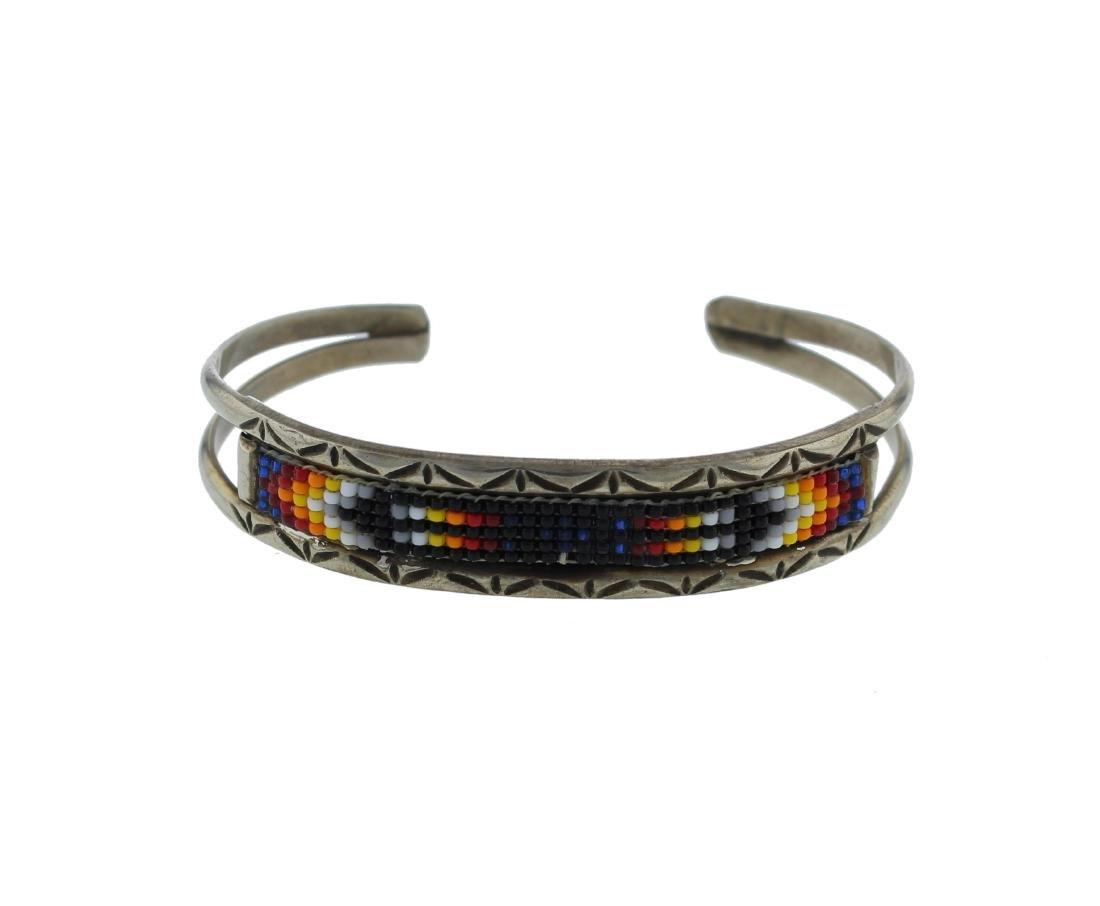 Sterling Silver Bead Bracelet Navajo Native American