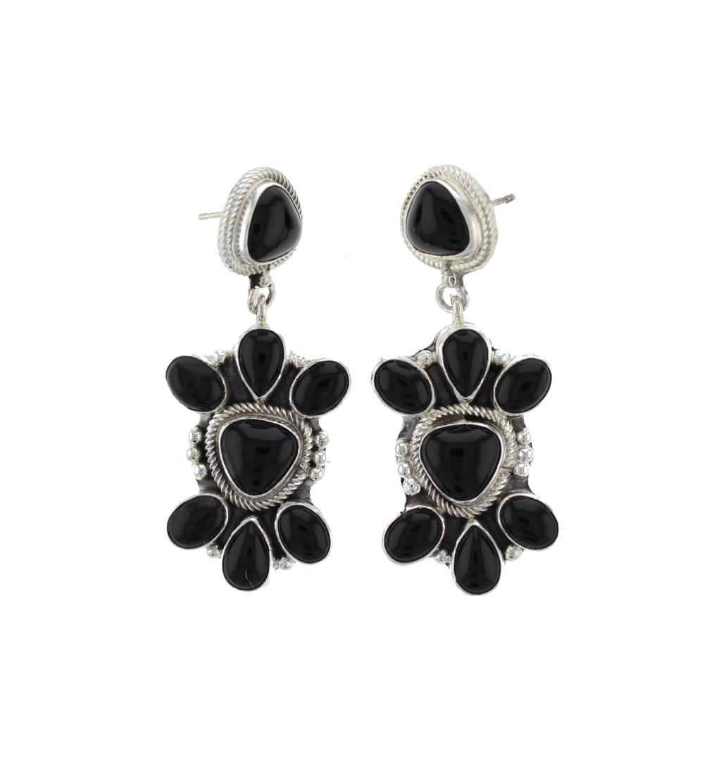 Sterling Silver Onyx Earrings Navajo Native American