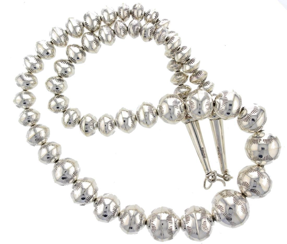 "Sterling Silver "" Navajo Pearls "" High Shine Graduated"