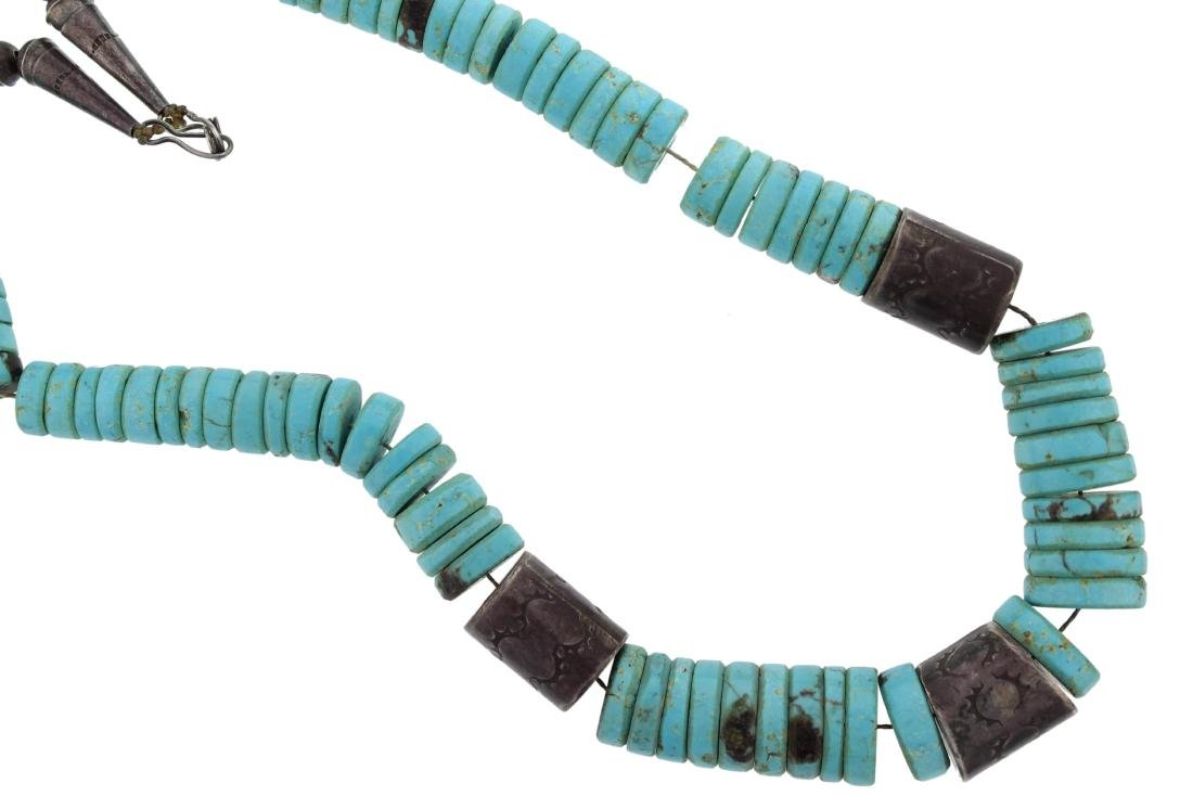 Sterling Silver  Turquoise Antique Bead Necklace Navajo