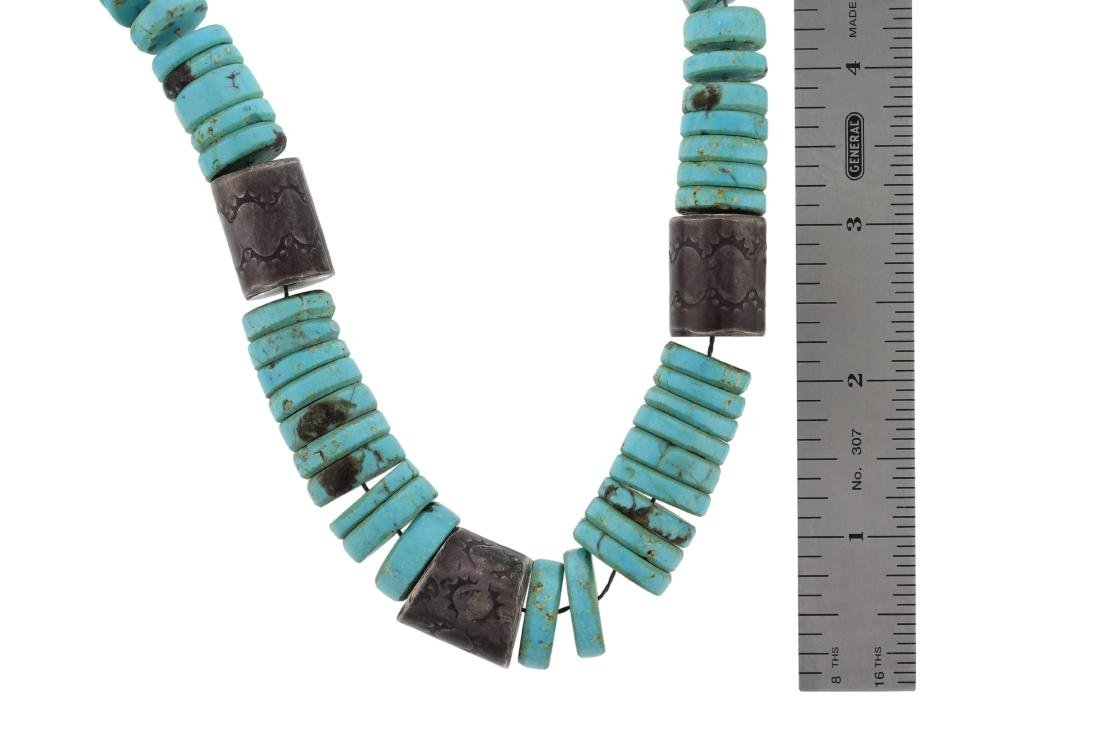 Sterling Silver  Turquoise Antique Bead Necklace Navajo - 2