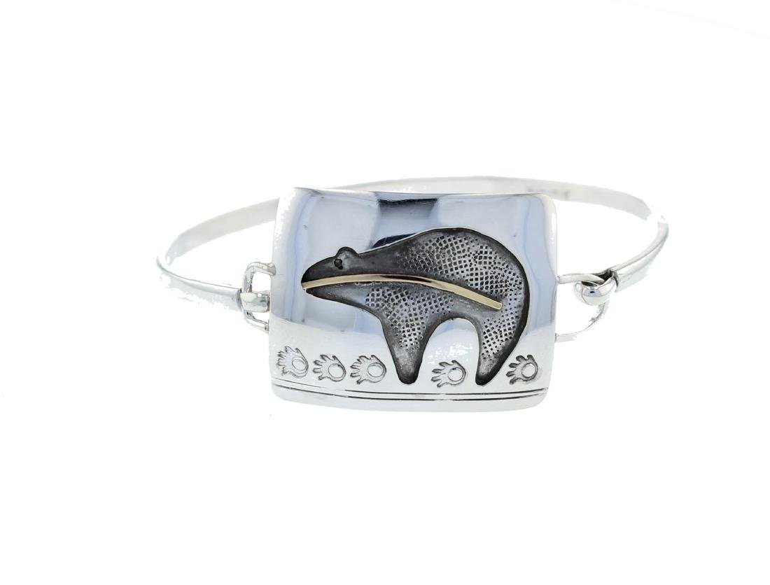 Sterling Silver Modern Bear Clasp Bangle Bracelet